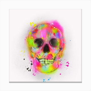 Fluro Skull Canvas Print