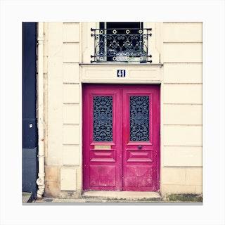 Paris Hot Pink Door Canvas Print