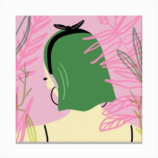 Jungle Girl Square Canvas Print