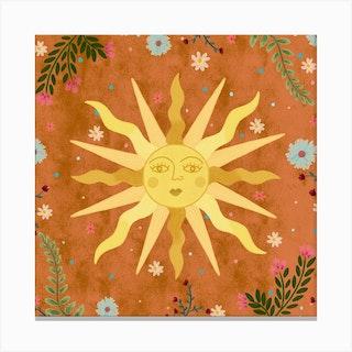 Vintage Sun Square Canvas Print