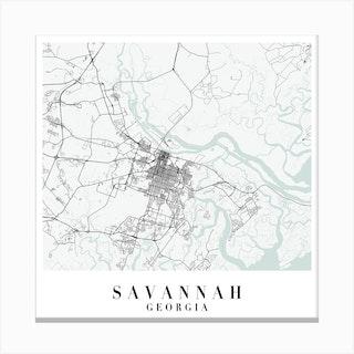 Savannah Georgia Street Map Minimal Color Square Canvas Print
