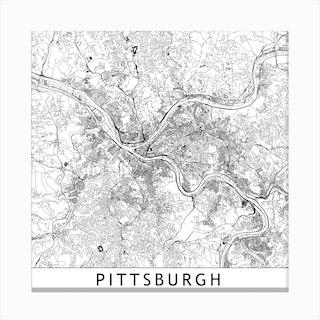 Pittsburg Map Canvas Print