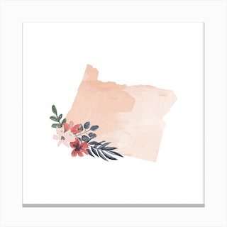 Oregon Watercolor Floral State Canvas Print