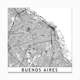 Buenos Aires Map Canvas Print