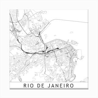 Rio De Janeiro Map Canvas Print