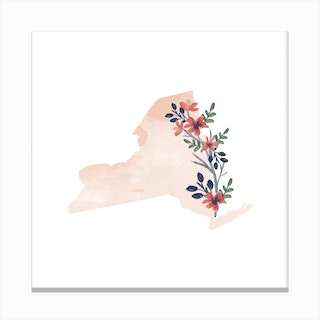 New York Watercolor Floral State Canvas Print