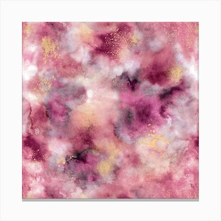 Smoky Marble Watercolor Pink Square Canvas Print