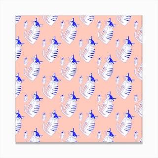 Cat Peach Pattern Canvas Print