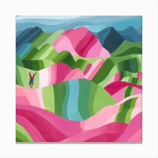 Montana De Colores Square Canvas Print