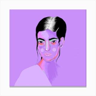 Purple Girl Square Canvas Print