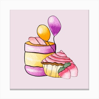 Party Cupcakes Square Canvas Print