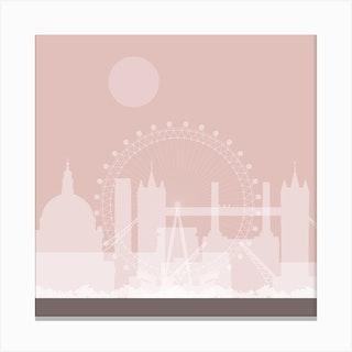 London Landmarks Pink Canvas Print