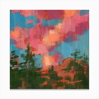 Cotton Candy Clouds Square Canvas Print