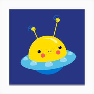 Nursery Kawaii Ufo Square Canvas Print