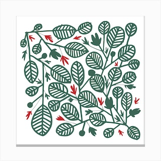 Green And Red Leaves Square Canvas Print