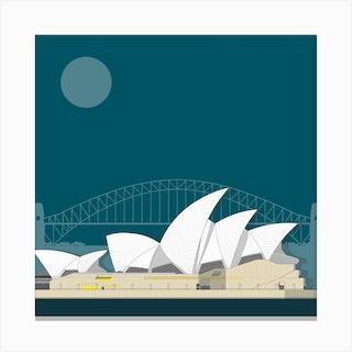 Sydney Opera House Blue Canvas Print