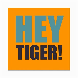 Hey Tiger Orange And Blue Square Canvas Print