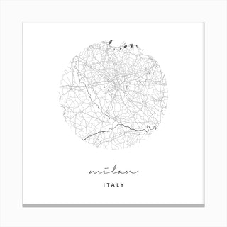 Milan Italy Circle Map Canvas Print