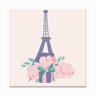 Eiffel Tour And Peonies Square Canvas Print