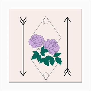 Purple Rose And Arrows Square Canvas Print