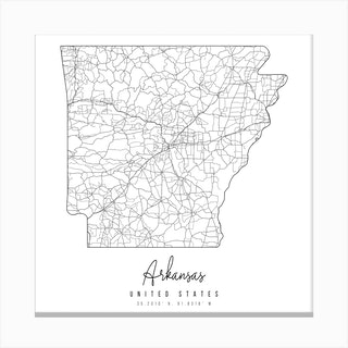 Arkansas Minimal Street Map Square Canvas Print