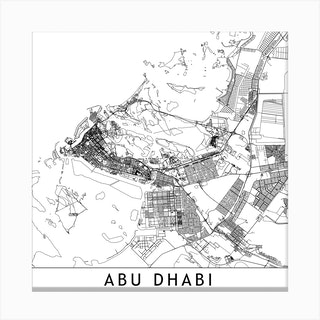 Abu Dhabi White Map Square Canvas Print