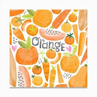 Rainbow Orange Square Canvas Print