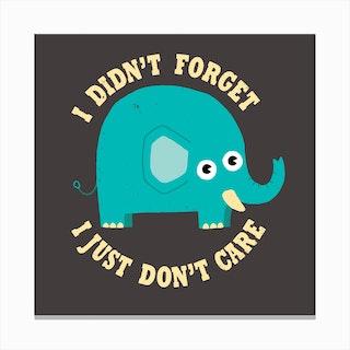 An Elephant Never Cares Canvas Print