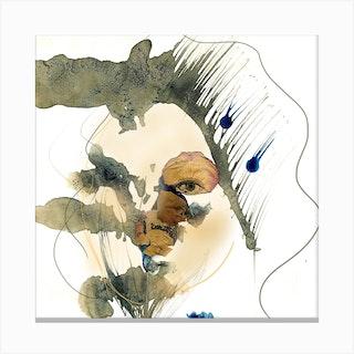 Woman Behind Roses 2 Canvas Print
