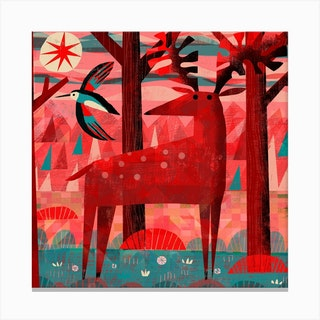 Woodpecker And Deer Square Canvas Print