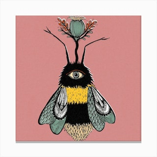 The Peculiar Bumblebee Square Canvas Print