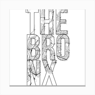 The Bronx Street Map Typography Square Canvas Print