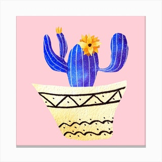 Golden Pots And Galactic Cacti Square Canvas Print