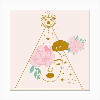 Celestial Woman And Peony Square Canvas Print