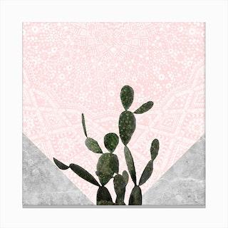 Cactus on Concrete and Pink Persian Mosaic Mandala Wall Canvas Print