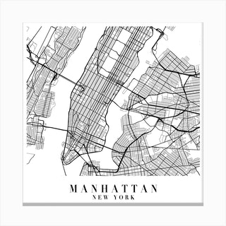 Manhattan New York Street Map Minimal Square Canvas Print