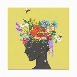 Flourish In Yellow Square Canvas Print