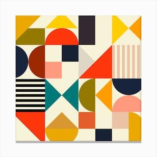 Mid Century Bauhaus 1 Square Canvas Print