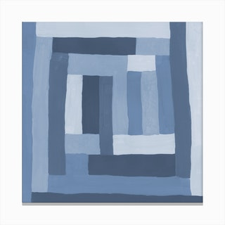 Painted Color Block Sprial In Blue Canvas Print