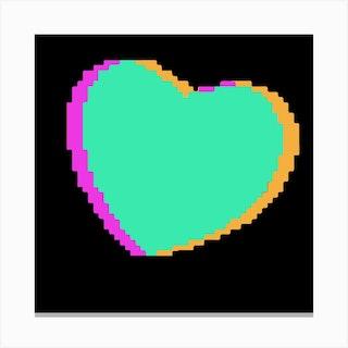Mint Pixel Heart Square Canvas Print
