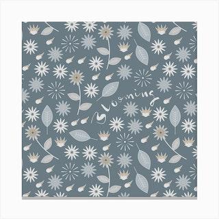 Blooming (Aqua)Square Canvas Print