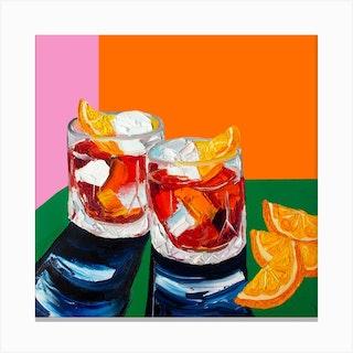 Negronis Orange Square Canvas Print