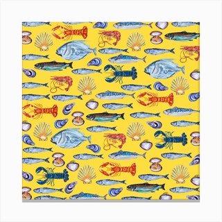 Fish Wallpaper Yellow Square Canvas Print
