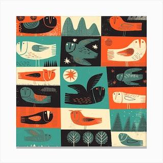 Owls 1 Square Canvas Print