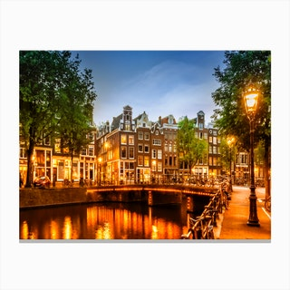 Amsterdam Idyllic Impression From Singel Canvas Print