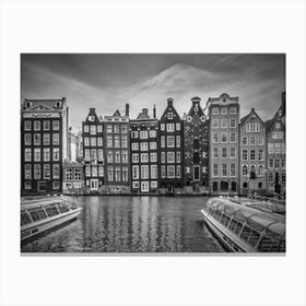 Amsterdam Damrak and Dancing Houses Canvas Print