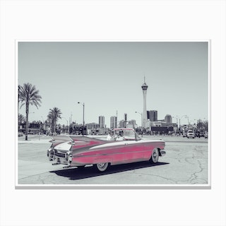 Vintage America Retro Pink Car Canvas Print