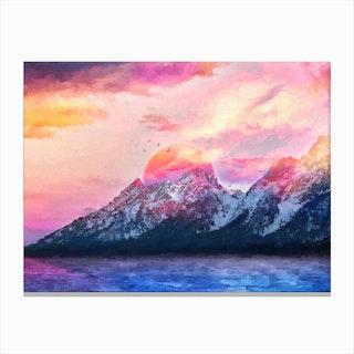 Modern Digital Artwork Vi Wyoming Mountains Canvas Print