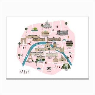 Paris Map Print Canvas Print