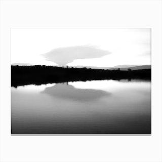Lake Reflection Bw Canvas Print